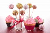 image of cake pop  - cupcake and cake pops - JPG