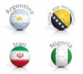 Group of soccer balls Argentina,Bosnia and Herzegovina,Iran,Nigeria