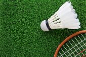 stock photo of shuttlecock  - close up image of shuttlecock on court - JPG