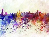 stock photo of illinois  - Chicago skyline in artistic abstract watercolor background - JPG