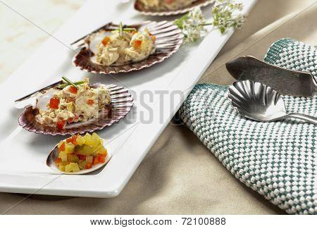 Tuna Salad On Scallop Shells.