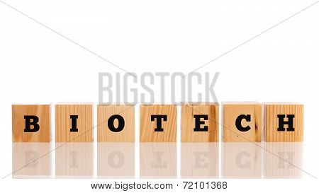 The Word - Biotech - In Alphabet Letters On A Row Of Wooden Blocks