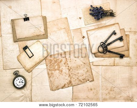 Aged Papers, Vintage Accessories, Keys, Pocket Watch, Lavender Flowers
