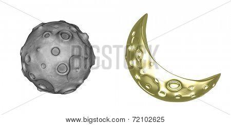 3D Toon Moon & Asteroid