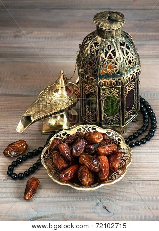 Dates, Arabic Lantern And Rosary. Oriental Decoration