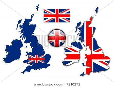 England UK flag, map, button vector set