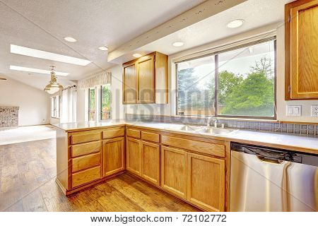 Kitchen Interior In Empty House.