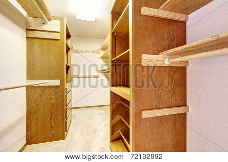 Empty Walk-in Closet With Cabinets