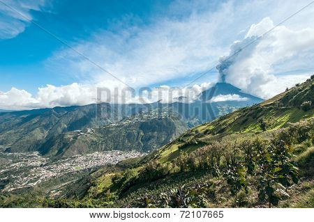 Eruption Of A Volcano Tungurahua, Cordillera Occidental Of The Andes Of Central Ecuador
