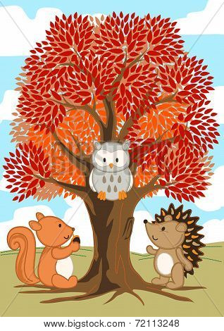 Forest Friends Under A Tree In Fall