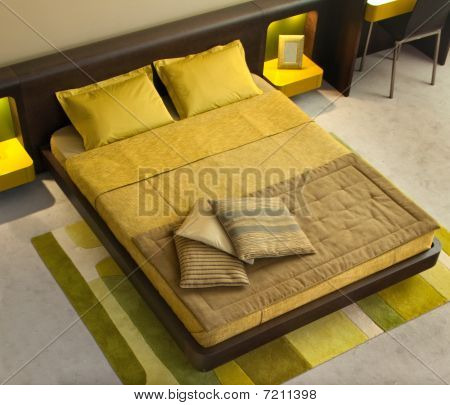 Modern bedroom interior design.