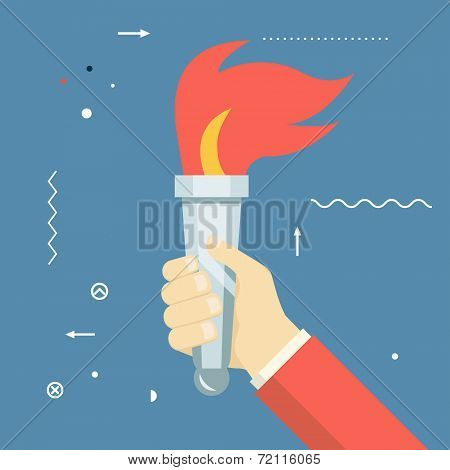 Victory Flame Symbol Hand Hold Fire Torch Icon Template on Stylish Background Modern Flat Design Vec