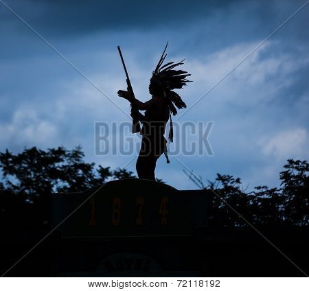 Silhouette Of American Indian Warrior