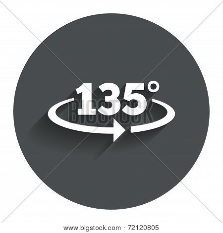 Angle 135 degrees sign icon. Geometry math symbol