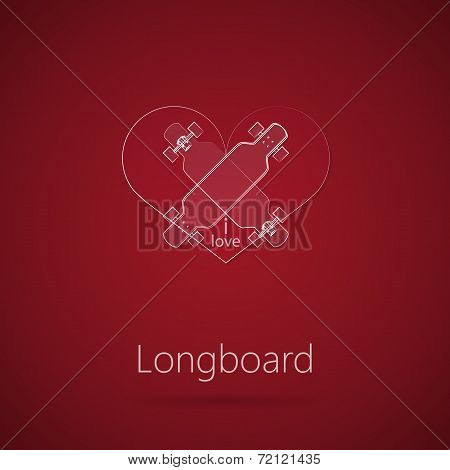 Abstract vector illustration of love to longboard