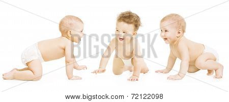 Baby Group Crawling In Diaper, Toddler Children Happy Smiling, Infant Kids Isolated Over White Backg