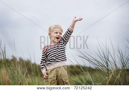 excited beautiful boy puts up his hand and screaming