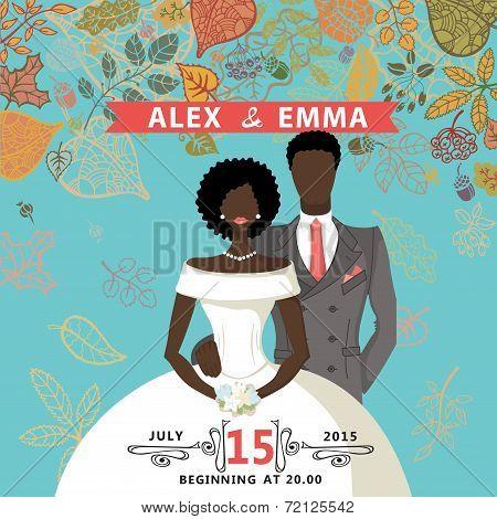 Cute wedding invitation.Mulatto groom,bride,autumn leaves
