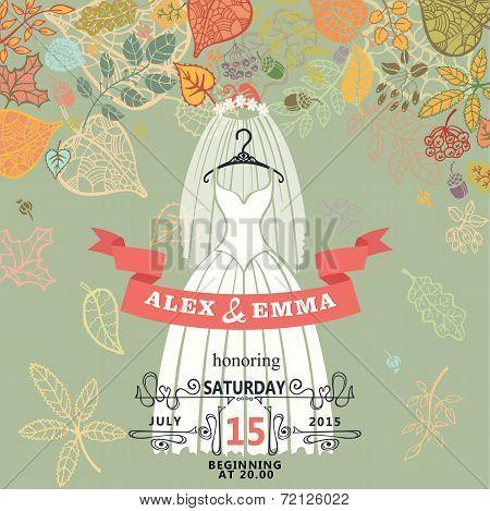 Bridal shower invitation.Bridal retro dress,autumn leaves