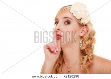Wedding. Bride Asking For Quiet. Finger On Lips.