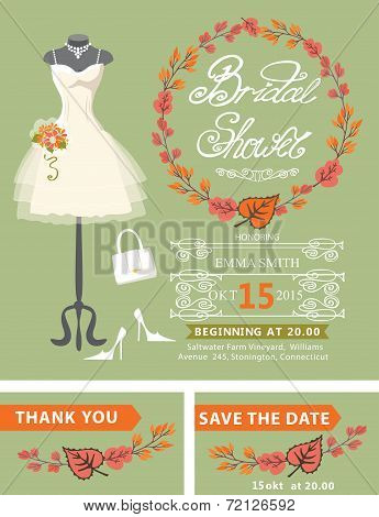 Bridal shower invitation set. Bridal dress,autumn leaves