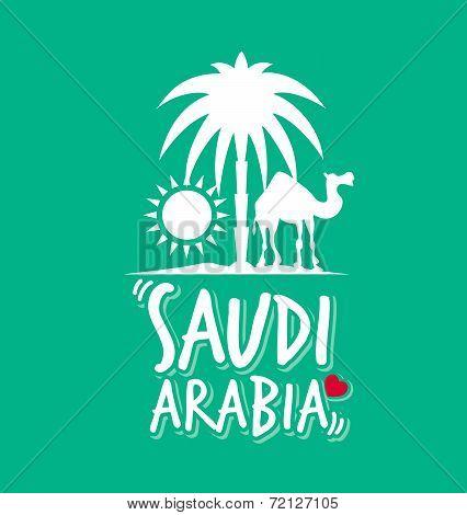 I Love Saudi Arabia in Green Color