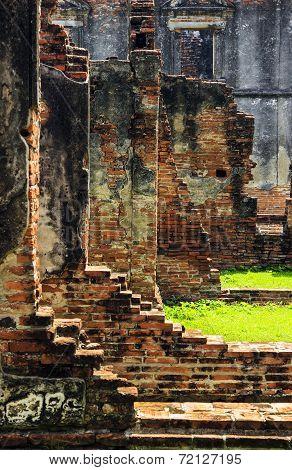Ancient Brick Wall Ruin