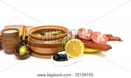 Hodgepodge Soup And Other Food On A White Background