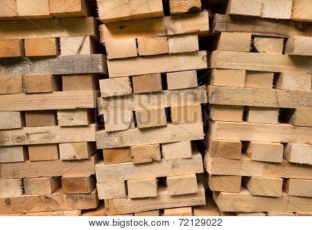 Piled wooden beams