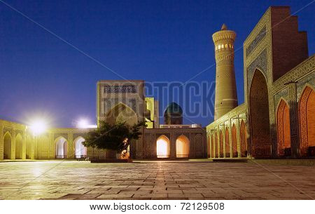 Night View Of Kalon Mosque And Minaret - Bukhara