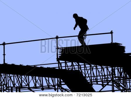 Worker on building