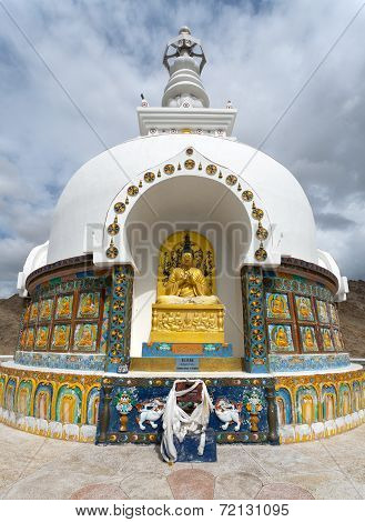 Detail Of Tall Shanti Stupa Near Leh