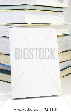 Blank Book Cover w the pile of books