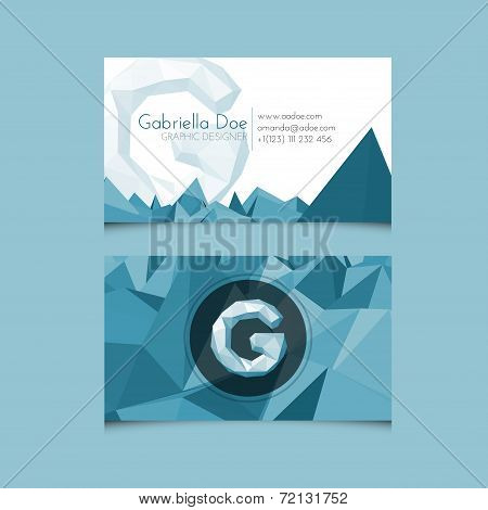 Low Poly Business Card Template With Alphabet Letter G