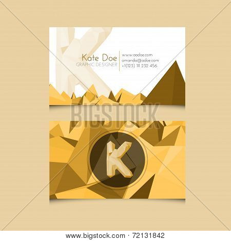 Low Poly Business Card Template With Alphabet Letter K