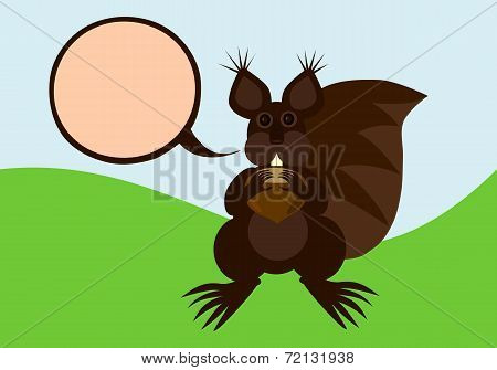 Brown squirrel with communication bubble