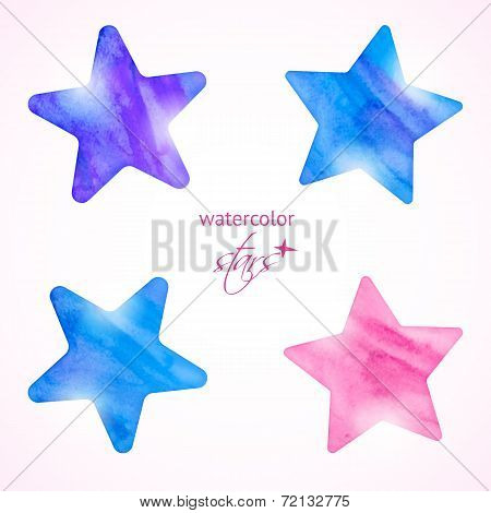 Watercolor Stars Set
