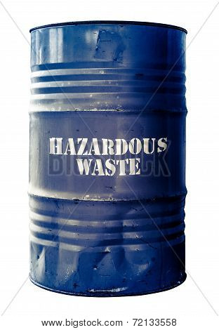 Isolated Barrel Of Hazardous Waste