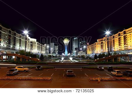 Night Town Square Of Astana