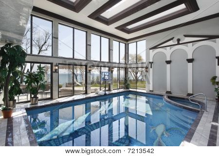 Indoor Swimming Pool With Lake View