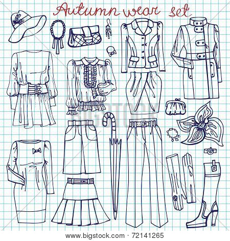 Outline Sketchy notepaper.Females clothing ,accessories