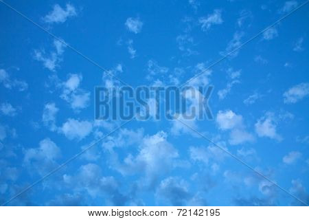 White Sparse Clouds On Blue Sky, Nature Background