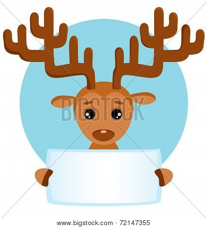 Vector Background And Greeting Card With Cute Deer
