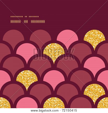 Gold glitter fish scale horizontal frame seamless pattern background