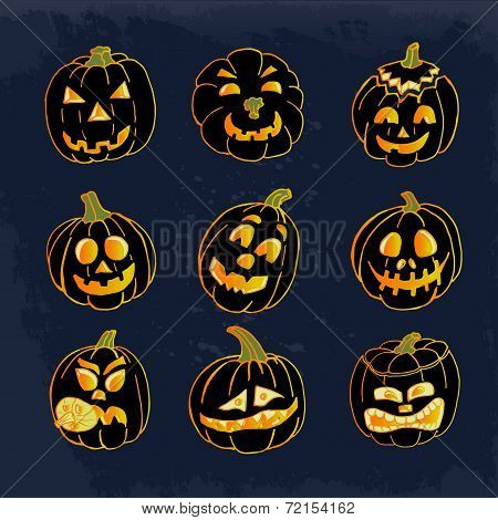 Collection Of Icons With A Terrible Pumpkin Faces. Vector Illusrtation