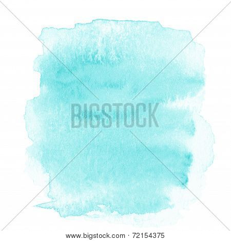 Blank Abstract Light Blue Watercolor Background Isolated On White. Watercolor Spot Over Textured Pap