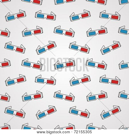 Seamless vector background for cinema. 3D glasses