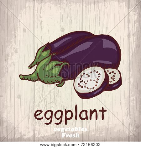 Fresh vegetables sketch background. Vintage hand drawing illustration of a eggplant