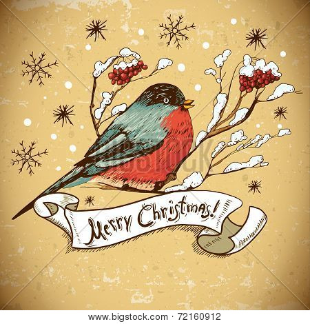 Christmas Greeting Card with bullfinches