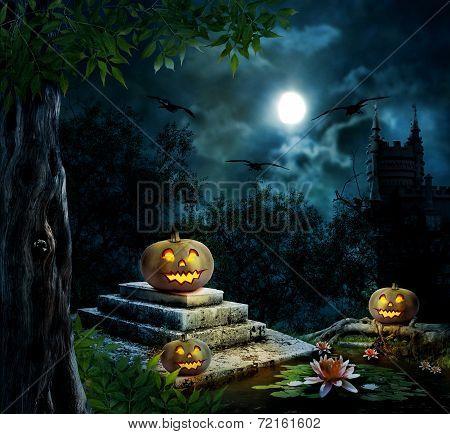 Halloween Pumpkins In Yard Of Old House Night In Bright Moonlight